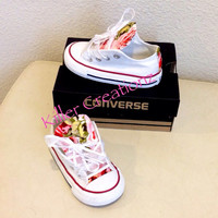 Custom Converse low tops with floral print INFANT SIZES