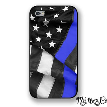 Thin Blue Line Flag Phone Case for Apple iPhone 5, 5c, 6 and 6 plus & Samsung Galaxy and Phone Stand