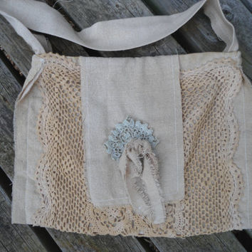 Upcycled Tea Stained Hand Dyed Frayed Lace Boho Shabby Chic Purse