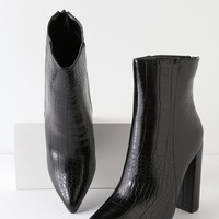 Karin Black Crocodile Embossed Two-Tone High Heel Booties