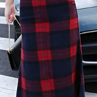 Red Plaid Bodycon Midi Skirt