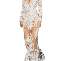 White Plunge Sheer Lace Long Sleeve Fishtail Bodycon Maxi Dress