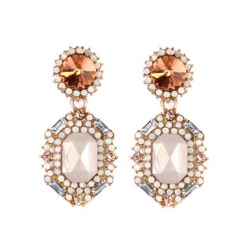 Topaz & Goldtone Statement Drop Earrings