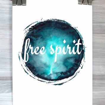 Free Spirit Print Hippie Typography Quote Watercolor Poster Dorm Room Decor Teen Bedroom Wall Art