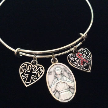 Saint Agatha Patron of Breast Cancer Silver Expandable Charm Bracelet Cross Awareness Pink Ribbon Adjustable Bangle Gift Meaningful