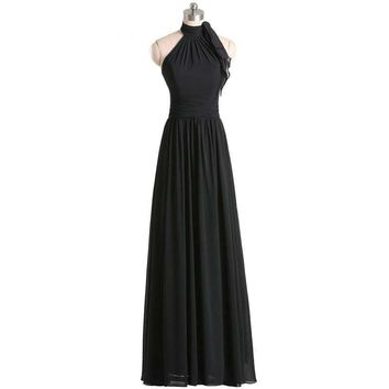 Chiffon Bridesmaid Dresses long Black Bridesmaid dresses high neck off the shoulder dresses for wedding party maxi gowns