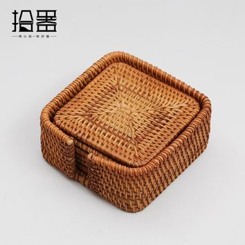 6pcs Handmade Bamboo Cup Mat Rattan Cup Coasters Set Kung Fu Coffee Tea Cup Cushion Decoration Vintage Table Placemats Mug Pads