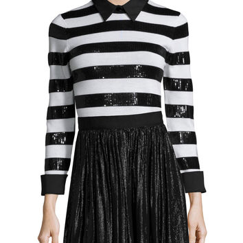 Marlee Sequin-Trim Wool Sweater, Black/White, Size: