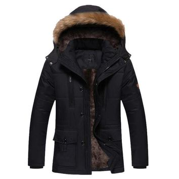 Winter Jacket Men Outerwear Thick Warm Coats Mens Fur Collar Detachable Hooded Jackets Men Windbreaker Parkas Brand Clothing