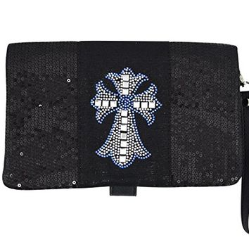 Skelapparel Crystal Cross Black Sequin Beaded Foldover Crossbody Bag