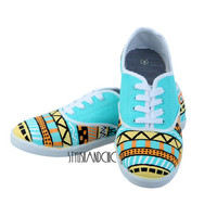 Tribal Print Shoes - Hand Painted