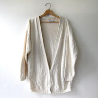 vintage natural white sweater. oversized cardigan sweater. textured cream cardigan.