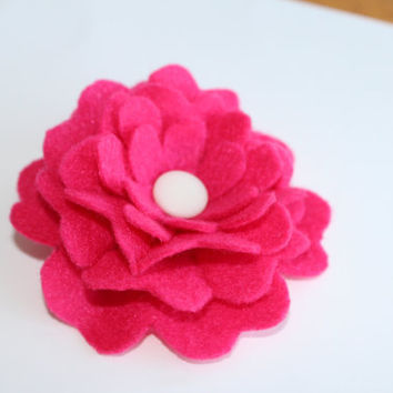 Handmade felt brooch pin hot pink flower with white button center fabric
