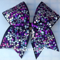 Silver and Purple sequin cheer bow
