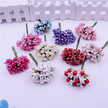 10pcs Foam Silk Stamen Handmade Artificial Berry Flower Wedding Decoration DIY Wreath Gift Box Scrapbooking Craft Fake Flower