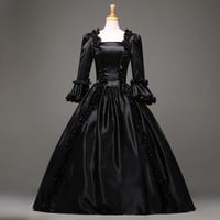 Black Gothic Victorian Dress Period Renaissance Rococo Belle Prom Gowns Theatre Clothing Costume Dresses Plus Size