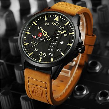Mens  Calendar Pilot Watch With Leather Strap