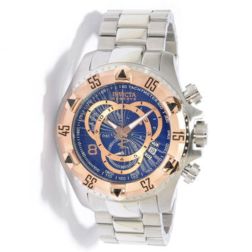 Invicta 10999 Men's Reserve Excursion Rose Gold Tone Bezel Blue Dial Chronograph Stainless Steel Dive Watch