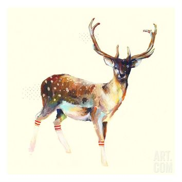 Deer Wearing Gym Socks Giclee Print by Charmaine Olivia at eu.art.com
