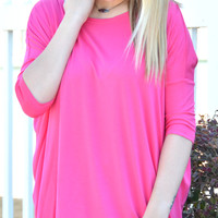 Piko 3/4 Length Sleeve Top - Fuschia