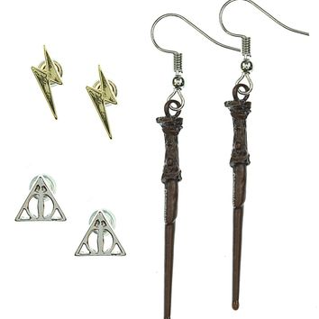 Harry Potter Earrings For Women 3 Pack Deathly Hallows, Lightning Scar, Harry Potter Wand