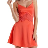 Coral Chevron Crochet Skater Dress by Charlotte Russe
