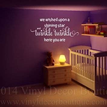 Twinkle Twinkle Here you are Wall art wall decal wall quote vinyl lettering vinyl wall quote nursery