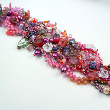 Beadwoven bracelet, Freeform pink and purple beadwoven OOAK bracelet, crystals, pearls, pressed glass