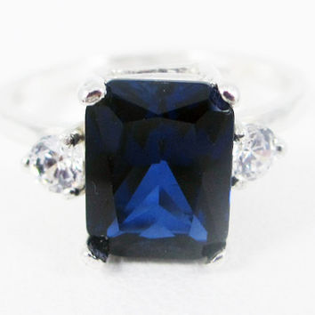 Blue Sapphire and White CZ Emerald Cut Ring Sterling Silver, September Birthstone Ring, Emerald Cut Blue Sapphire Ring