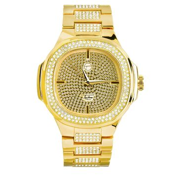 Men's Iced Out Simulated Diamonds Square Face Watch