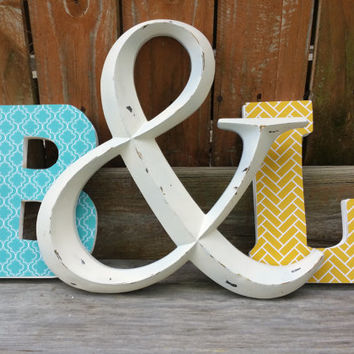 Decorative letters, letter set, personalized letters, teal and yellow with ampersand