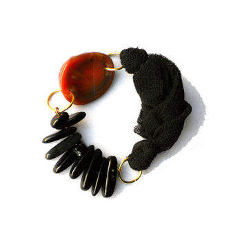 Fabric bracelet Black bangle with stones and brown agate for her - one of a kind - OOAK