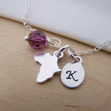 Tiny Africa Charm Swarovski Birthstone Initial Personalized Sterling Silver Necklace / Gift for Her
