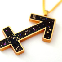 Sagittarius Necklace with Constellation, Fire Element and Jupiter Symbols. The Archer Zodiac. Star Sign Necklace. Occult. Laser Cut Plastic