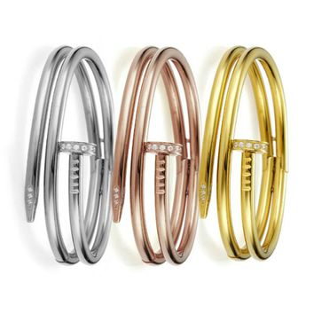 Double Nail Bangle Bracelet - Stainless Steel