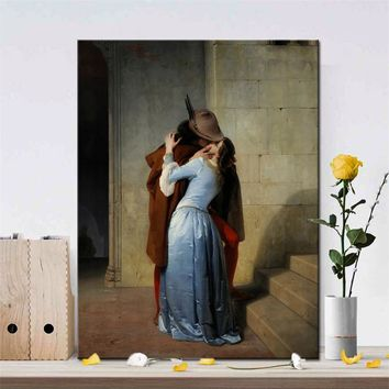 Italy Painter Francesco Hayez Kiss-Il Bacio Posters and Prints Wall Art Canvas Painting Lover Picture for Living Room Decor Gift