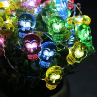 LED Halloween Colorful Skull String Lights