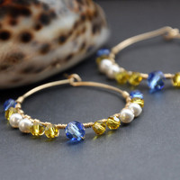 Multicolor Gold Hoops, Cobalt Blue, Lemon Yellow, Swarovski Pearls Crystals