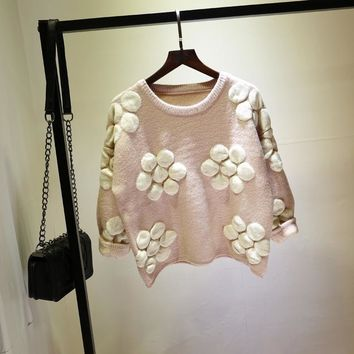 2018 Autumn Winter Korean Long Sleeve Shirt Flowers Knitted O-neck Lovely Jumper Pullover Casual Fashion Loose Sweater Top 61967