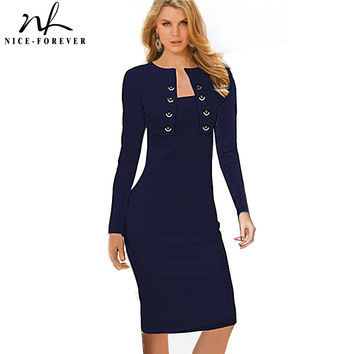Nice-forever Winter Long Sleeve Buttons office Business Dress Elegant Plus Size Women Vintage Pinup Bodycon Pencil Dress b10