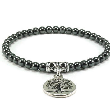 Hematite Tree of Life Beaded Bracelet, Stretch Bracelet