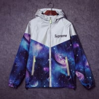 Supreme Unisex Lighting Windbreaker Spureme Thin and thick reflective clothes Blue starry sky hoodies Front