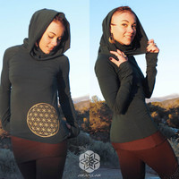 Carina: Cowl neck long sleeve shirt with Flower of Life screen print. Billowy hood. Cotton-lycra pull-over. Gold sacred geometry design.