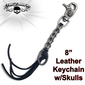 "9"" Leather Whip Keychain w/Skulls (kc008)"