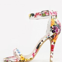 Anne Michelle Enzo-01n Floral Ankle Strap Heels | MakeMeChic.com