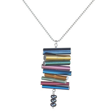 Knitting needle stacked pendant with pearls on silver-plated ball chain