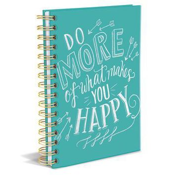 Do More of What Makes You Happy Spiral Hardbound Journal in Aqua