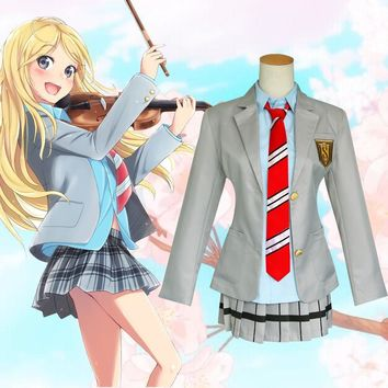 Cool Your Lie in April Miyazono Kaori Cosplay Costume Anime Cosplay School Uniforms Halloween Costume ( Coat + Skirt + Tie )AT_93_12