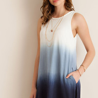 Dip Dye Shift Dress - Navy Combo
