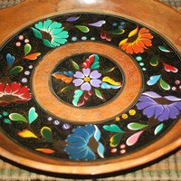 Hand Painted Wooden Serving Tray Floral Design With Handles